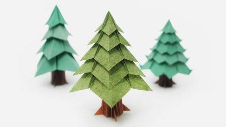 Оригами коледна елха