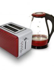 Комплект тостер и електрическа кана ZEPHYR Breakfast, 2 части, Червен
