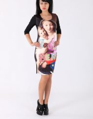 Дамска рокля с апликация