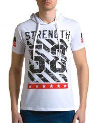Мъжка бяла тениска с качулка и номер 58