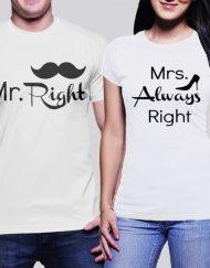 Мъжка тениска Mr. Right и Дамска тениска Mrs. Always Right pc.2