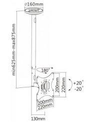 """TV BRACKET, SBOX CPLB-28S, въртяща се стойка за телевизор 23""""-42'', за таван, 625-875mm, до 30кг"""