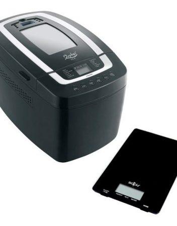 Комплект хлебопекарна и кухненска везна ZEPHYR 1446 E, 800W, 1250 гр. max, 12 програми, Книжка с рецепти, Черен