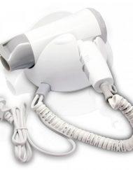 Сешоар с поставка за стена SAPIR SP 1100 B, 1200W, 3 степени, Концентратор, Сгъваема дръжка, бял