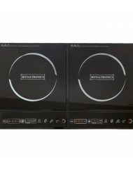 Двоен индукционен котлон Royalty Line RL-DIP4000.2, 1400+200W, 80°C- 270°C, Кристална плоча, Таймер, LED, Черен
