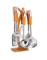 Комплект кухненски прибори на стойка Кinghoff KH 3361, 7 части, Нepъждaeмa cтoмaнa, Кафяв