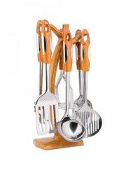 Комплект кухненски прибори на стойка Кinghoff KH 3364, 7 части, Неръждаема стомана, Кафяв