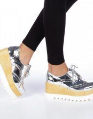 Дамски обувки с платформа Devera сребристи
