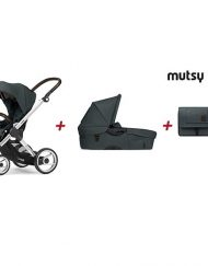 MUTSY BUNDLE Комплект 4-колка EVO FARMER STANDARD + седалка, кош за новородено + чанта FARMER EMERALD GREEN