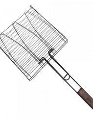 Скара за печене на риба на въглища Kinghoff KH 1157, Оксидирана стомана, Дървена дръжка, 28x28 см