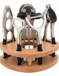 Комплект кухненски прибори с поставка Kinghoff KH 3416, 7 части, Никелирани, Закалена стомана