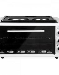 Готварска печка с два котлона ZEPHYR ZP 1441 T50HP, 3900W, 50 литра, Терморегулатор, Тава и решетка, Бял