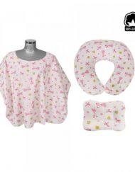 Sevi Baby Комплект за кърмене от 3 части - Розов с бяло
