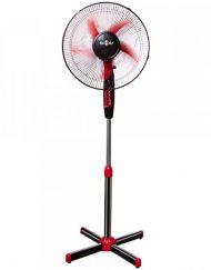 Вентилатор на стойка с 5 перки SAPIR SP 1760 B5, 45W, 40 см, 3 скорости, Регулиране на височината, Мрежа, Черен/червен