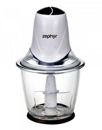 Чопър със стъклена купа ZEPHYR ZP 1111 IG, 300W, 1.5 литра, 2 скорости, 4 ножа, Бял