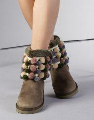 Дамски чизми Sandina зелени