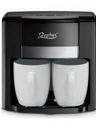 РАЗОПАКОВАН - Кафемашина с две чаши ZEPHYR ZP 1170 D, 500W, Перманентен филтър, Черен