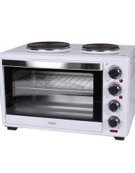 Готварска печка с два котлона MUHLER MN-3809, 3600W, 38 литра, Вентилатор, Осветление, Таймер, Бял