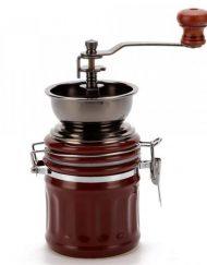 Ръчна кафемелачка OEM 2613-8, 60 гр, Керамичен механизъм,  Порцелан и метал, Кафява