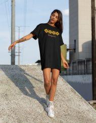 Дамска тениска-рокля с шевица 13