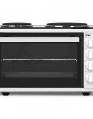Готварска печка с два котлона Elite EMO-1208, 42 литра, Фурна:1300W, Котлони: 2500W, Осветление, Двойно стъкло, Бял