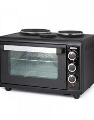 Готварска печка с два котлона TERMOMAX TC33BK, 33 литра, Двойно стъкло, Фурна: 1300W, Черен
